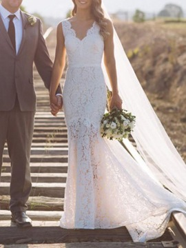 Ericdress V-Neck Mermaid Lace Hall Wedding Dress