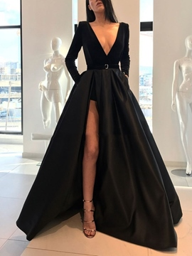 Ericdress Deep V-Neck Long Sleeves Black Evening Dress 2019