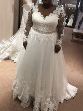 Ericdress Appliques Beading Long Sleeve Plus Size Wedding Dress 2019