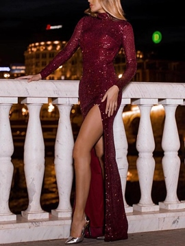 Ericdress Long Sleeves High Neck Sequins Evening Dress 2019