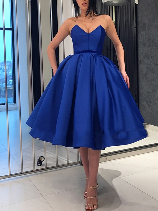 Ericdress Sweetheart Tea-Length Dark Royal Blue Prom Dress 2019