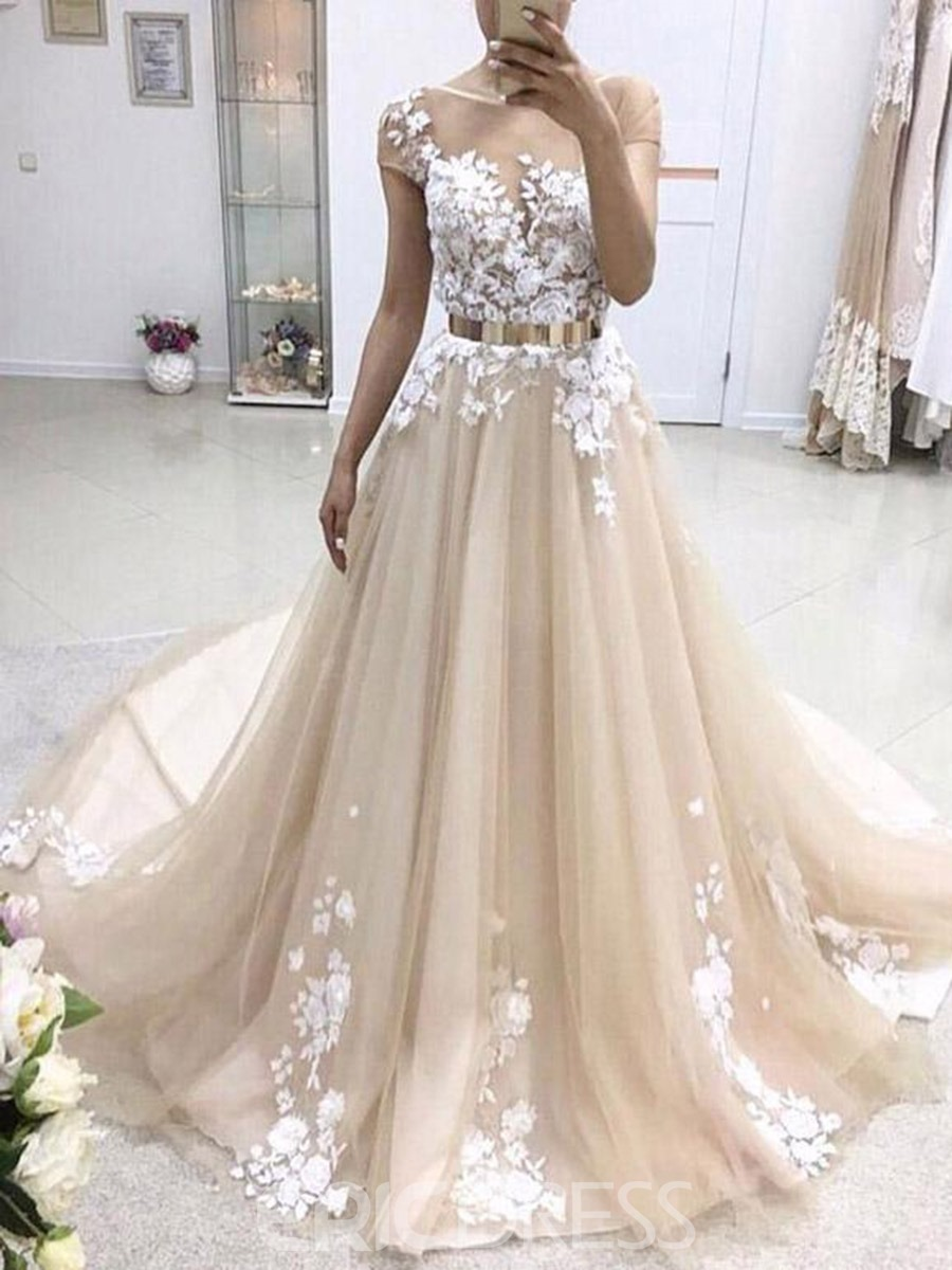 Ericdress Scoop Short Sleeves Hall Wedding Dress