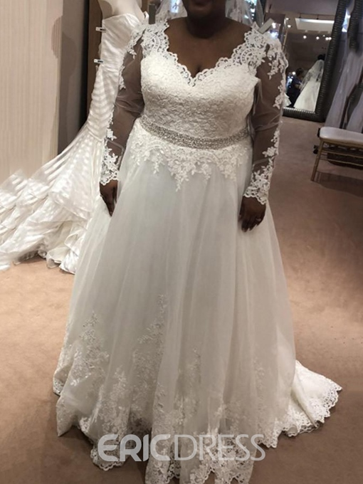Ericdress Appliques Beading Long Sleeve Plus Size Wedding Dress