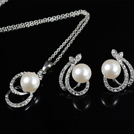 European Pearl Inlaid Necklace Jewelry Sets (Wedding)