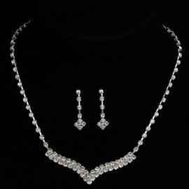 Diamante European Floral Wedding Jewelry Sets