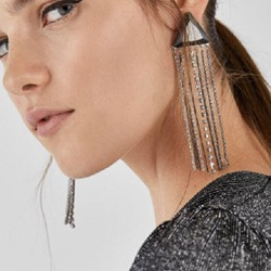 Ericdress Plain Tassel Silver Earrings