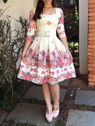 Ericdress Print Three-Quarter Sleeve Knee-Length Expansion Floral Dress(Without Waistband) thumbnail