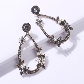 Ericdress Floral Diamante Prom Earrings