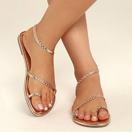 Ericdress PU Toe Ring Block Heel Slip-On Women's Flat Sandals