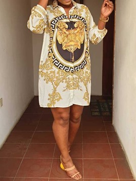 Ericdress African Fashion Lapel Knee-Length Fashion Dress
