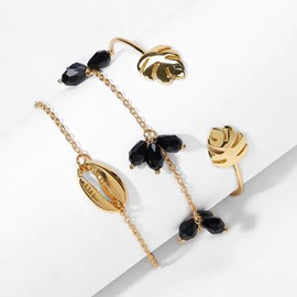 Ericdress Leaf Black Gems Bracelets
