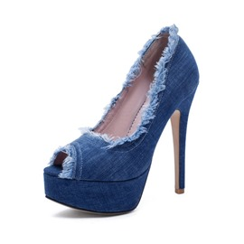Ericdress Denim Fringe Stiletto Heel Women's Pumps