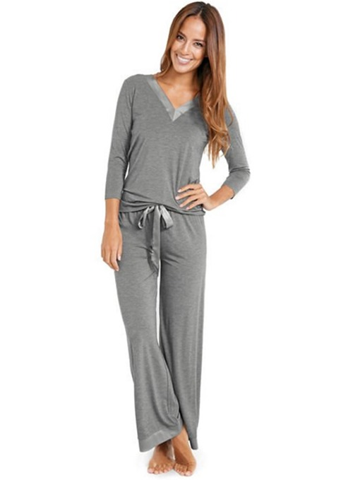 Ericdress Lace-Up Plain Simple V-Neck Sleep Top Pajama Suit