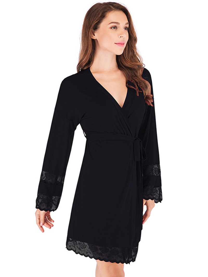 Ericdress Plain Single Lace Loose Nine Points Sleeve Night-Robes