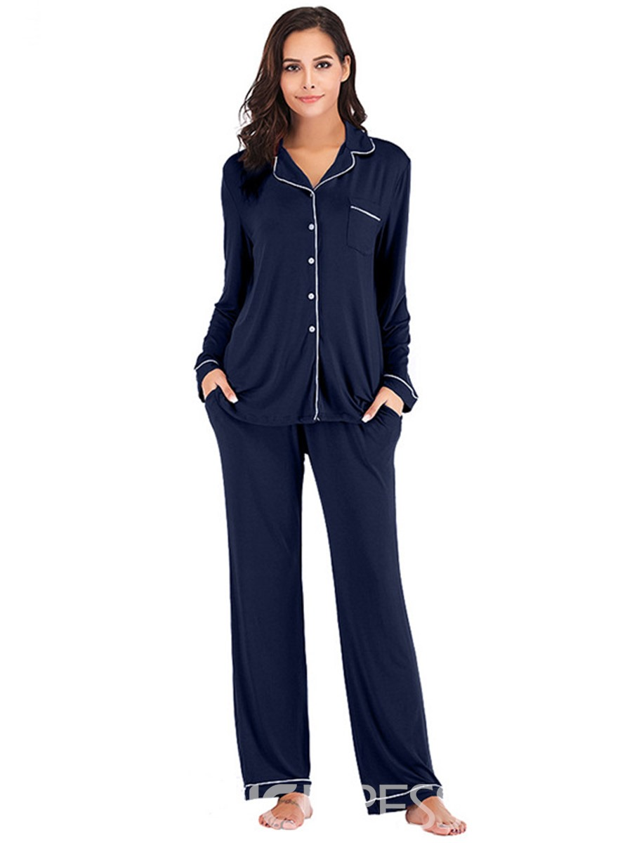 Ericdress Color Block Pocket Long Sleeve Single-Breasted Pajama Suit