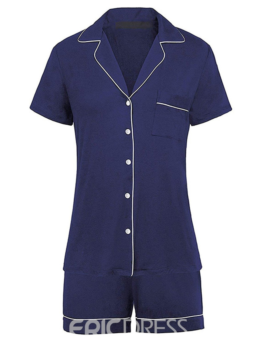 Ericdress Simple Color Block Short Sleeve Regular Pajama Suit