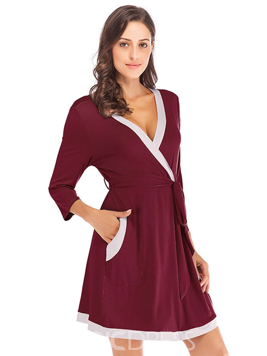 Ericdress Single Lace-Up Color Block Summer Night-Robes with Pocket