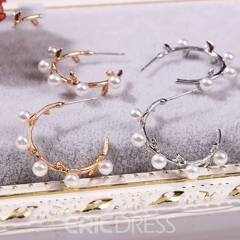 Ericdress Hoop Pearl Simple Earrings