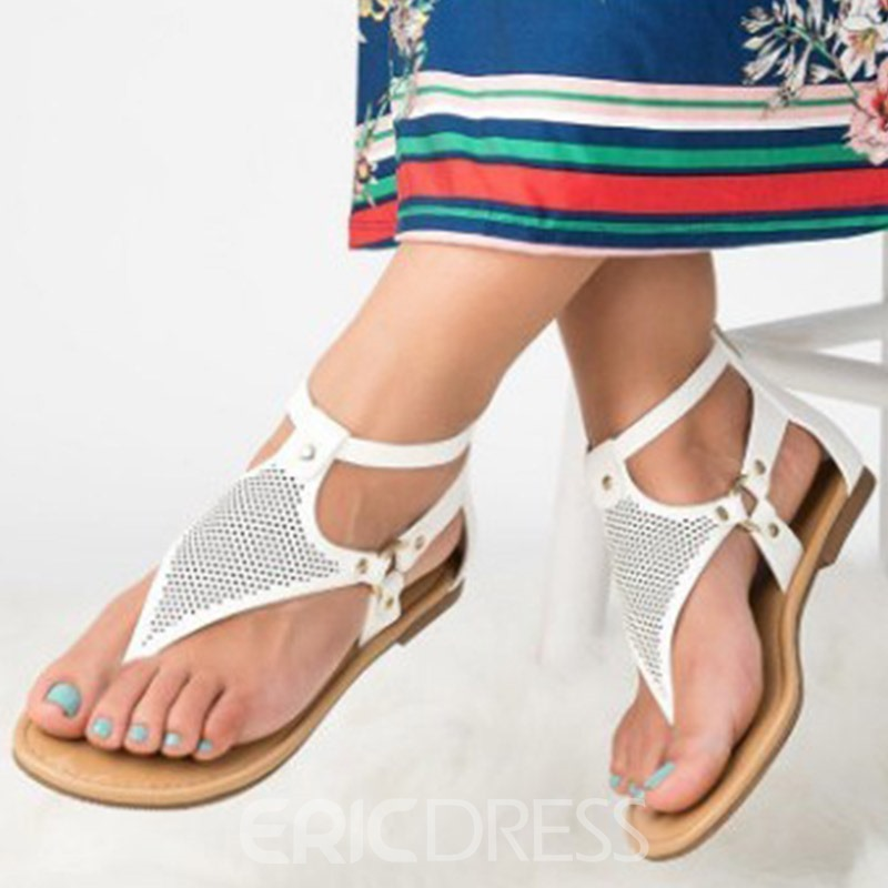 Ericdress PU Heel Covering Buckle Block Heel Women's Flat Sandals