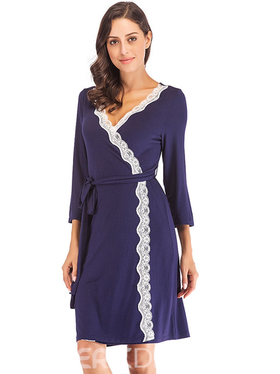 Ericdress Patchwork Lace-Up Summer Three-Quarter Sleeve Night-Robes