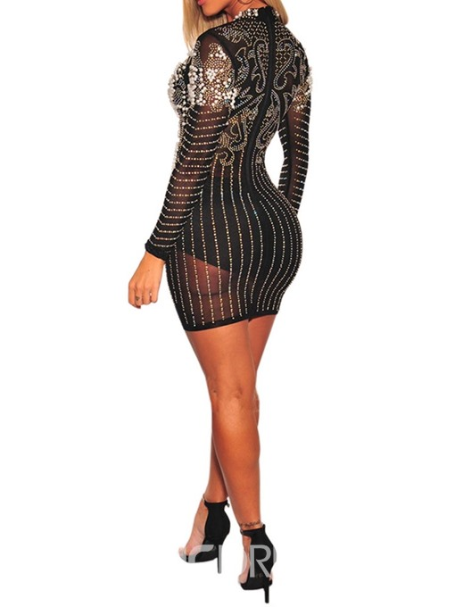Ericdress See-Through Round Neck Above Knee Regular Sexy Dress