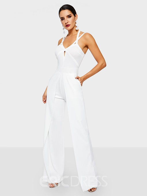 Ericdress Plain Strap Dressy Straight Slim Jumpsuit