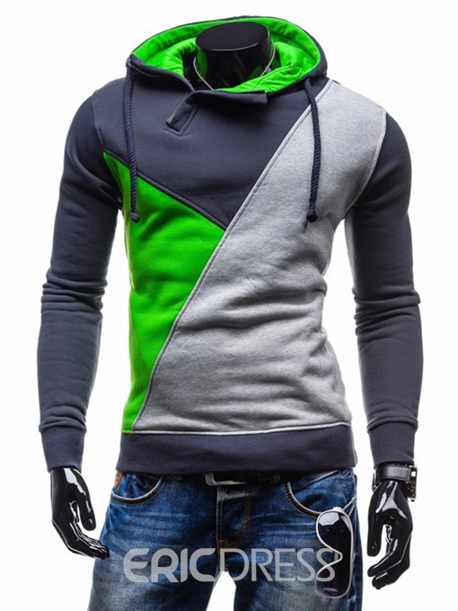 Ericdress Color Block Pullover Men's Slim Hoodies