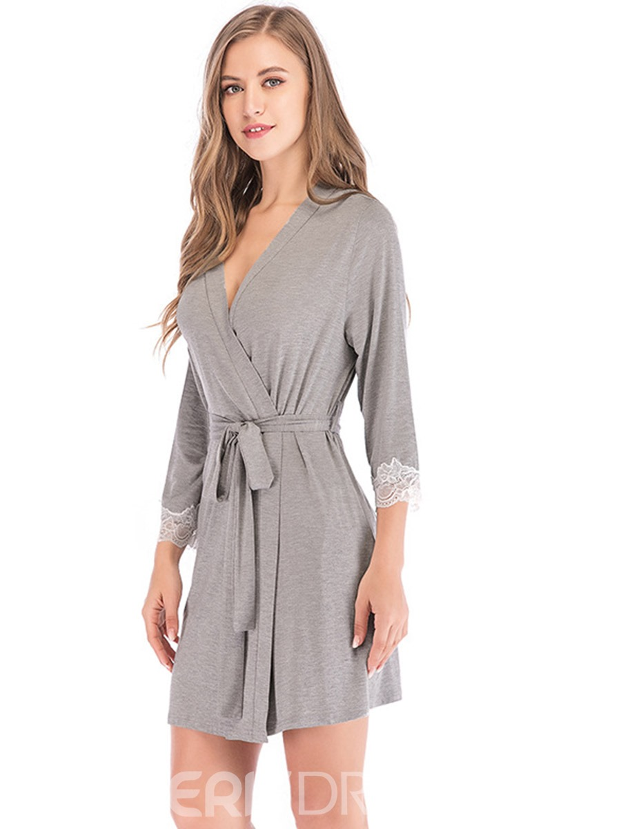 Ericdress Lace-Up Single Plain Regular Loose Night-Robes