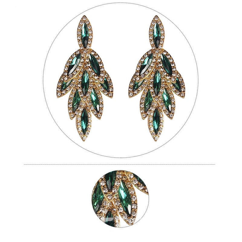 Ericdress Leaf Diamante Vintage Earrings
