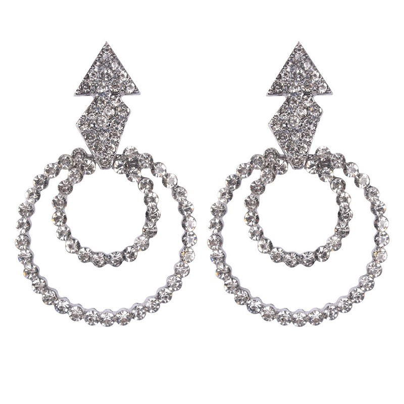 Ericdress Diamante Triangle Earrings