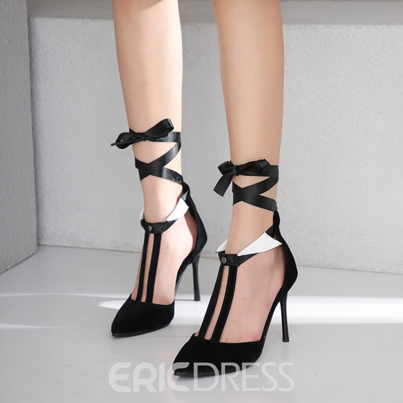 Ericdress PU Stiletto Heel Pointed Toe Lace-Up Women's Pumps