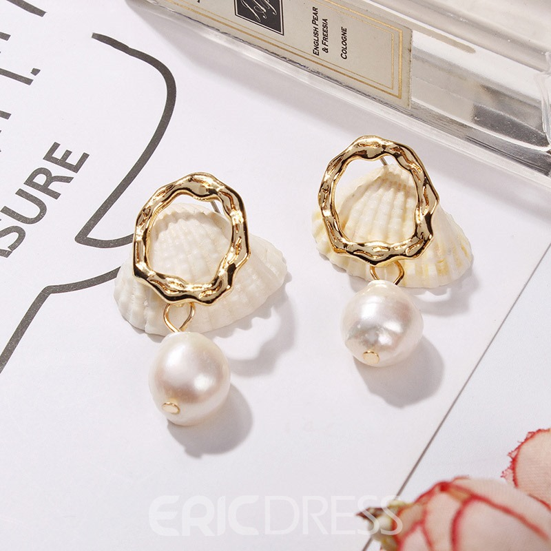 Ericdress Pearl Prom Golden Earrings