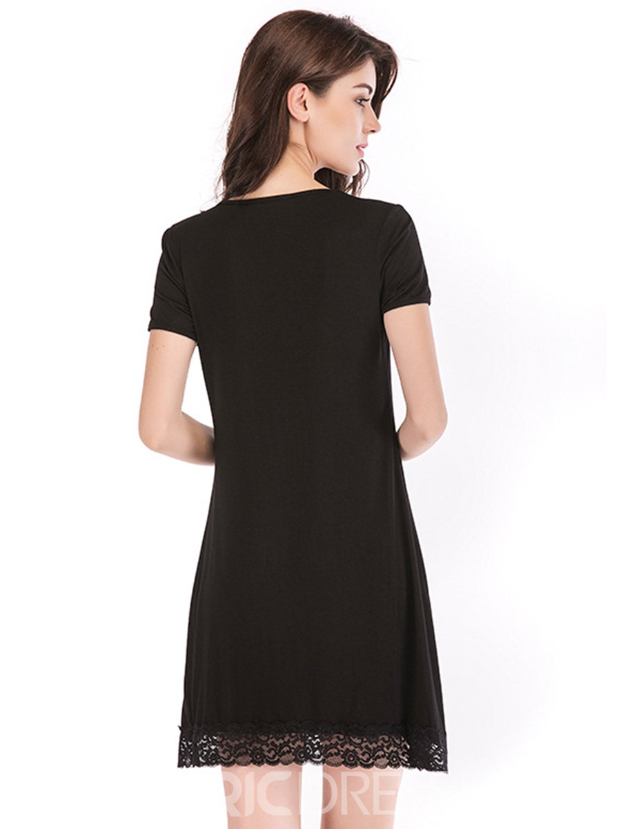 Ericdress Single Patchwork Plain Round Neck Short Sleeve Nightgowns