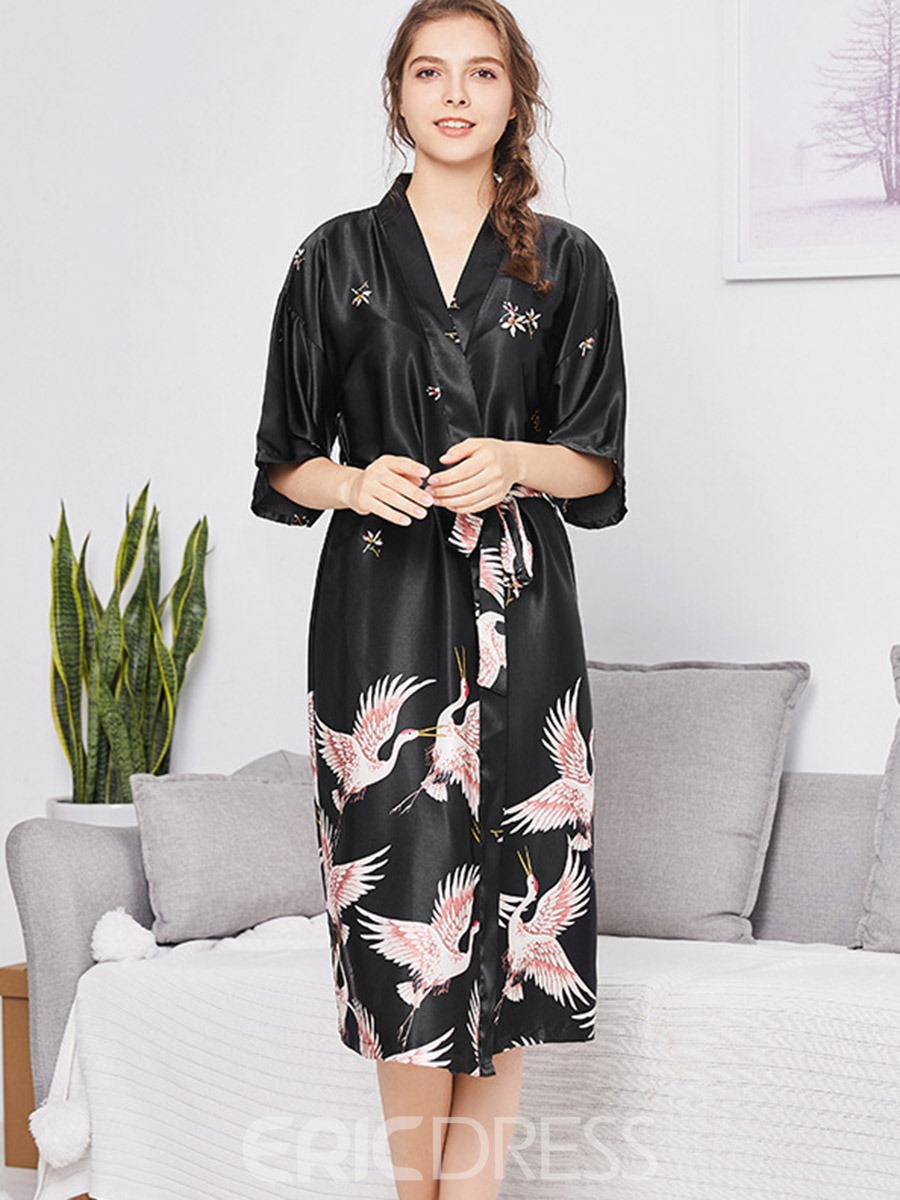 Ericdress Floral Lace-Up Single Half Sleeve Loose Night-Robes