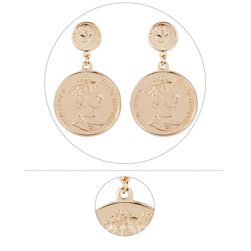 Ericdress Portrait Alloy Golden Earrings