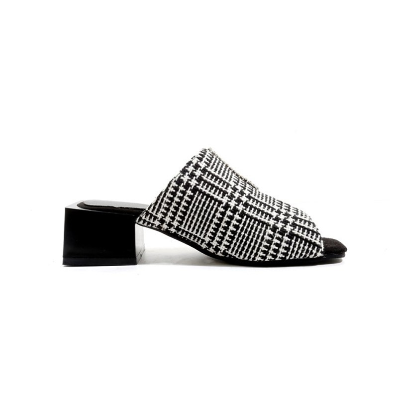 Ericdress Plaid Slip-On Chunky Heel Women's Mules Shoes
