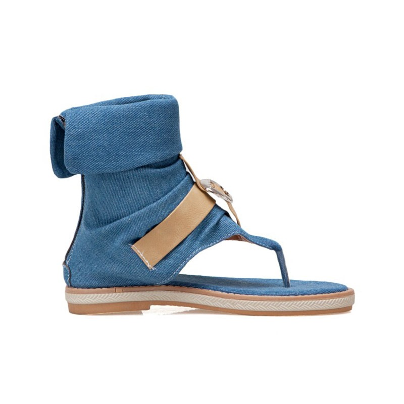 Ericdress Denim Heel Covering Buckle Women's Flat Sandals