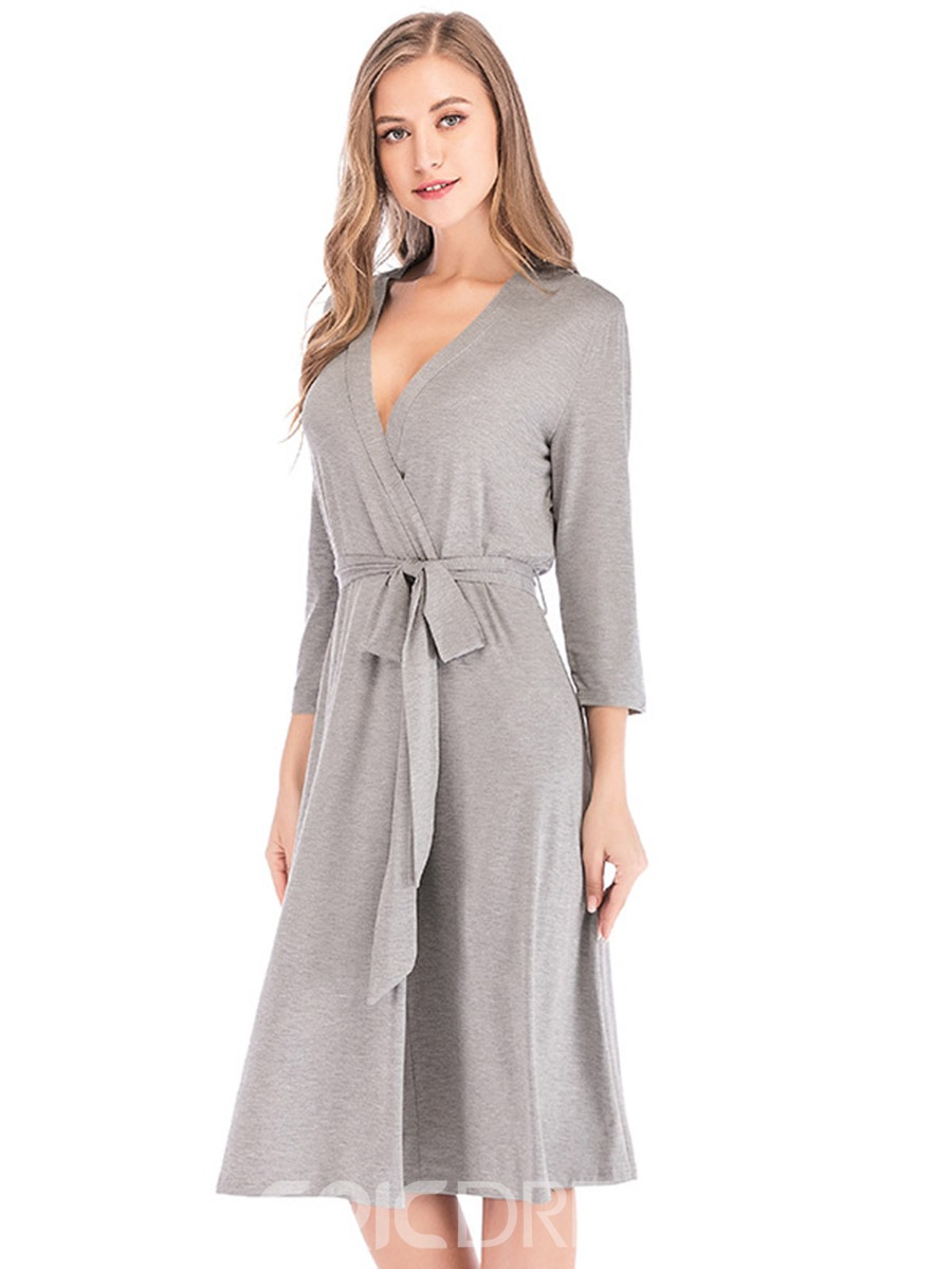 Ericdress Single Plain Lace-Up Regular Sexy Night-Robes