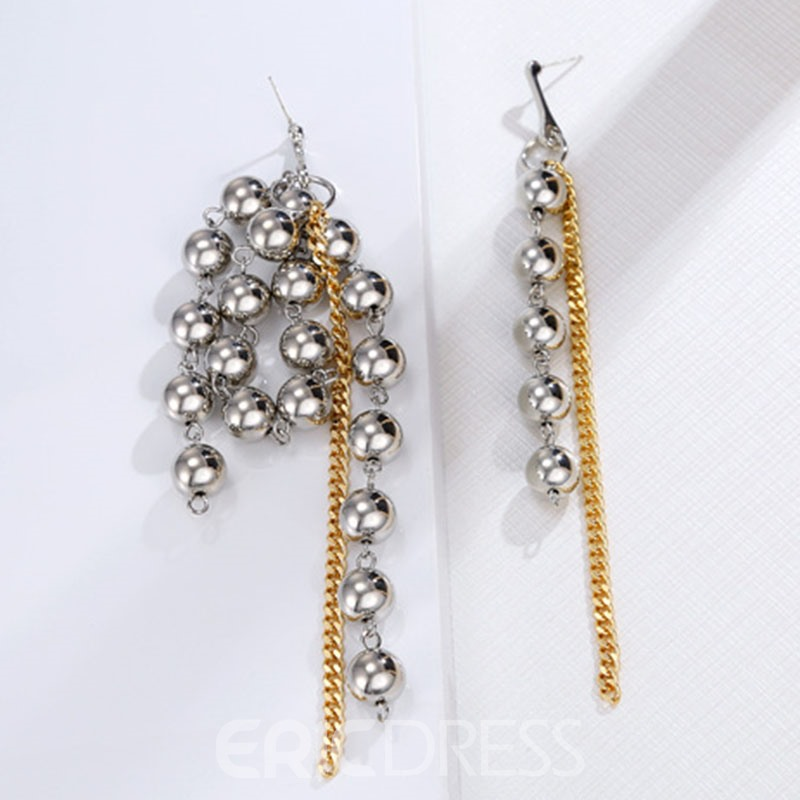 Ericdress Beads Color Block Long Drop Earrings