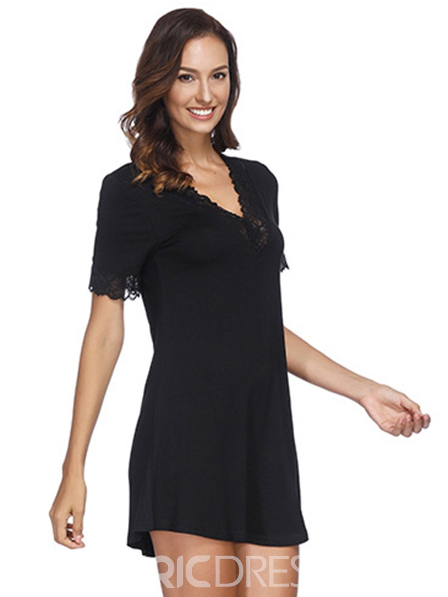 Ericdress Patchwork Single Plain V-Neck Above Knee Nightgowns
