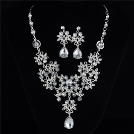Ericdress Gemmed Necklace Floral Jewelry Sets