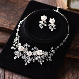 Earrings Crystal Inlaid Floral Jewelry Sets (Wedding)