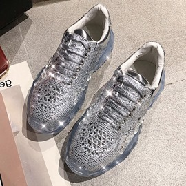 Ericdress Rhinestone Lace-Up Round Toe Women's Sneakers