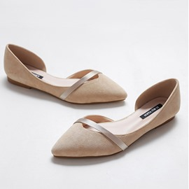 Ericdress Faux Suede Pointed Toe Block Heel Slip-On Women's Flats