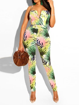 Ericdress Print Plant Sexy Strap Slim Jumpsuit