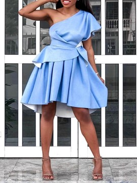 Ericdress Knee-Length Oblique Collar Short Sleeve Plain High Waist Dress