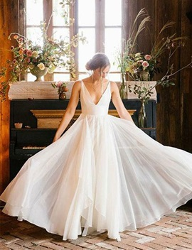 Ericdress V-Neck A-Line Country Wedding Dress