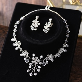 Earrings Gemmed Floral Jewelry Sets