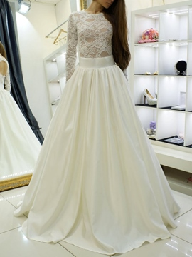 Ericdress Jewel Neck Lace Long Sleeve Wedding Dress 2019
