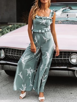 Ericdress Floral Strap Print Wide Legs High Waist Fashion Jumpsuit